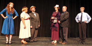 <p>From left, Emily Miller, Rebecca Lapp, Ed Huckabee, Christine Keefe, William Smith and Keegan Westra as members of the Sycamore and Kirby families, whose different outlooks on life clash.</p>