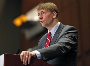 <p>FILE - In this March 26, 2015, file photo, Consumer Financial Protection Bureau Director Richard Cordray speaks during a panel discussion in Richmond, Va. The Consumer Financial Protection Bureau has proposed a massive overhaul of the multibillion dollar debt-collection industry. The changes released Thursday, July 28, 2016, would restrict collectors from calling numerous times a day, require them to more substantially prove a debt is valid, and give people more ability to dispute their bills. The CFPB is also proposing a 30-day waiting period on collection attempts for loans tied to a person who has recently died. (AP Photo/Steve Helber, File)</p>