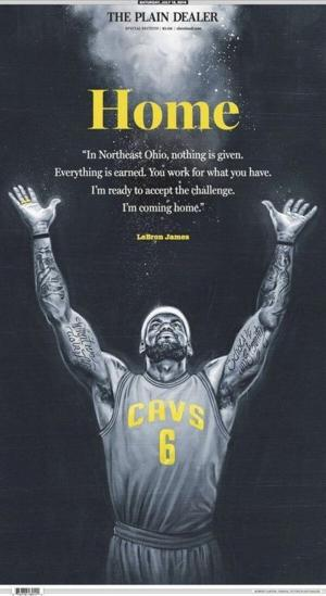 LeBron James' return: Saturday's front page of The Plain Dealer