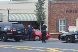<p>Police had weapons drawn during a traffic stop in front of the Standard Journal offices around 11:20 a.m. </p>
