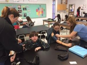 <p>Cedartown Middle students learn about first aid techniques during homeroom. </p>