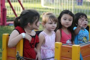 <p>Children enjoy a train ride at the 2014 Polk County Fair.</p>