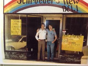 <p>Charles (left) and John Schroeder prior to the 1981 opening of Schroeder's New Deli on Broad Street. (Contributed photo)</p>