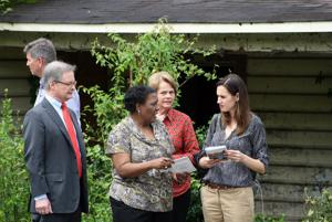 <p>Georgia Department of Community Affairs Commissioner Camila Knowles (right) tours Rome earlier this year. Chamber President AL Hodge, now chair of the DCA board accompanied Knowles on the tour. (Doug Walker, RN-T)</p>