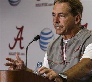 <p>Alabama head coach Nick Saban talks about Alabama's scrimmage, Saturday, Aug. 16, 2014, at Bryant-Denny Stadium in Tuscaloosa, Ala. (AP Photo/Alabama Media Group, Vasha Hunt)</p>