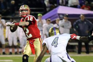 <p>Rome quarterback Knox Kadum (left) is one of many underclassmen who have developed into impact players for the Wolves over the last two seasons. (File, Jeremy Stewart/RN-T.com)</p>