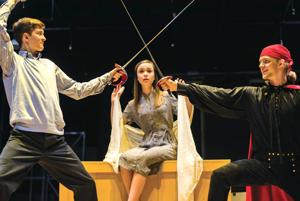 """<p>Ethan Hart, left, plays El Gallo, Morgan Andrews is Louisa and Connor Wright plays Matt in the upcoming Berry College production of """"The Fantasticks.""""</p>"""