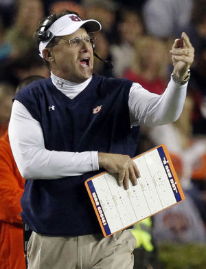 <p>Auburn head coach Gus Malzahn reacts to a play during the first half of an NCAA college football game against Florida Atlantic on Saturday, Oct. 26, 2013, in Auburn, Ala. (AP Photo/Butch Dill)</p>