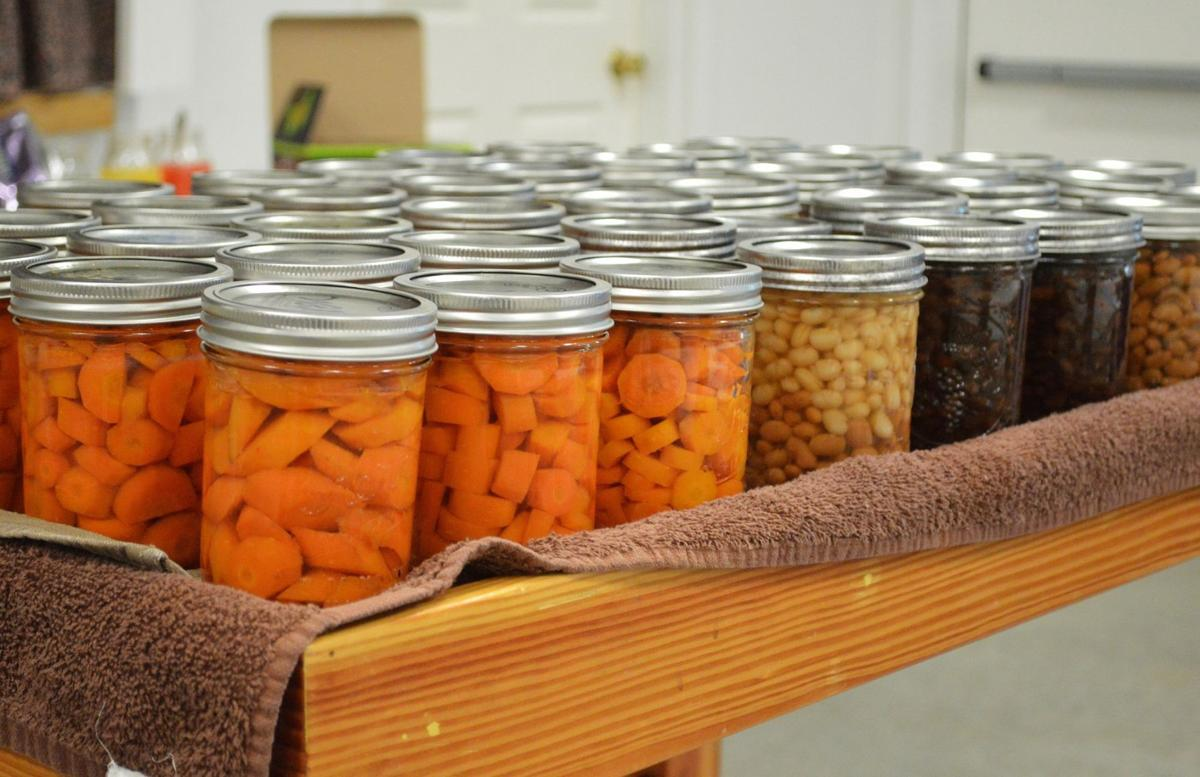 Canned carrots and beans prepared by MFP trainees