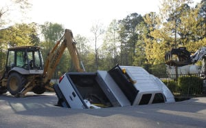 Hickory Dickory Sinkhole swallows truck...