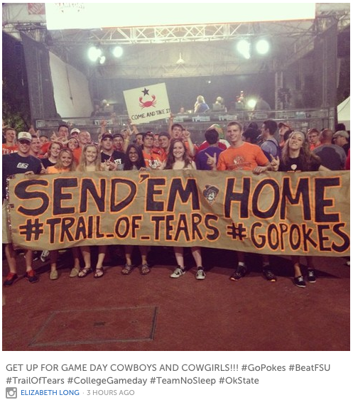 Cowboys and Indians: OSU fans carry deplorable signs at College GameDay