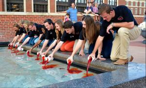 Orange water in Edmon Low fountain a homecoming staple going on 15 years