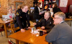 Cops and coffee go together on Elkhorn's Main Street