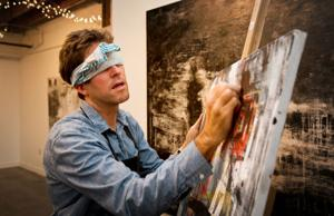 Local artist paints blindfolded, still hasn't seen some of his own work