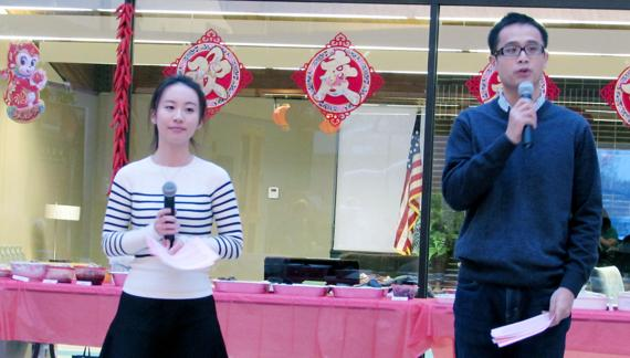 <p>Bellevue University Chinese Student Association leaders Sky Tan, left, and Tony Chen speak during the Chinese New Year celebration on Friday. The Chinese New Year was on Monday.</p>