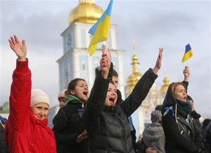 Ukrainian demonstrators converge outside monastery