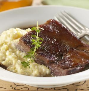 Recipe: Braised pork belly with creamy grits