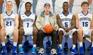 Picture this — devoted Creighton hoops fan, 87, included in team photo