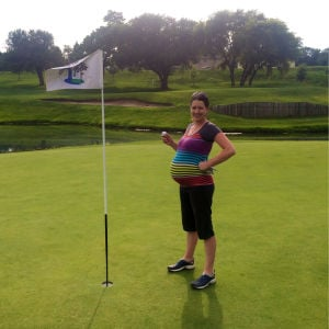 Just before stork is to visit, golfer delivers her first hole-in-one