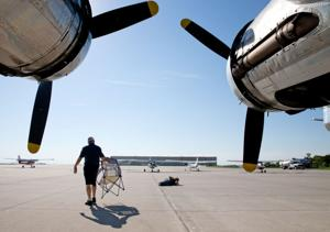 Volunteer group lands B-17 at Bluffs airport to honor vets