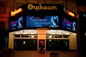 Orpheum marquee: Metal letters out; pictures, colors, motion in