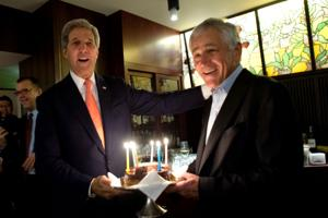 Now that's diplomacy: John Kerry surprises Chuck Hagel with cake