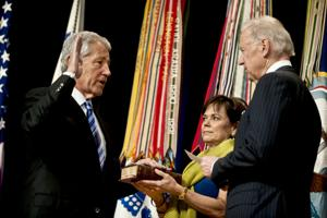 'Together, we will make this a better world,' Hagel says at ceremonial swearing-in