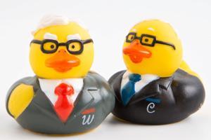 Warren Buffett, Charlie Munger 'fiesta ducks' on sale at Berkshire meeting