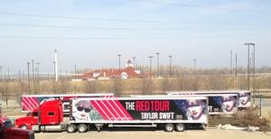 Taylor Swift's semis arrive. Is Taylor here, too?