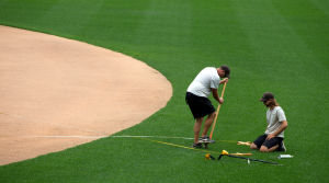 CWS crowds long gone, TD Ameritrade Park groundskeeper works to keep turf pristine