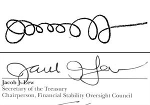 Treasury secretary makes strides in penmanship