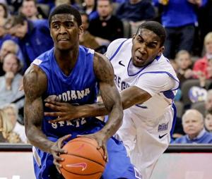 Sycamores have Bluejays' full attention