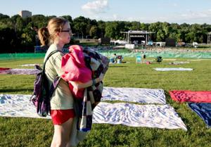 Line forms early for tonight's Memorial Park concert, fireworks