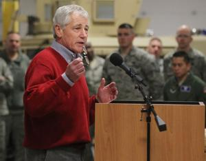 Hagel visits missile base; meanwhile, nuclear launch officers tied to narcotics probe