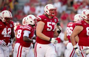 Husker lineman Zach Sterup is strapped in, ready to go