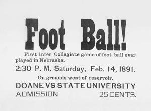 125 years ago, Nebraska and Doane hooked up for a one-of-a-kind Valentine's Day football showdown