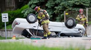 Rollover accident shuts down Cuming Street traffic