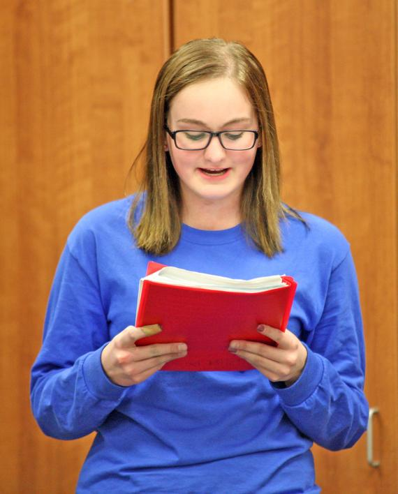 <p>Kylee Hancock reads a monologue. Hancock and other play production students at Papillion-La Vista South High School spent three days working with guest artist and Papillion-La Vista High School graduate Danielle O'Farrell, who works as an actress.</p>