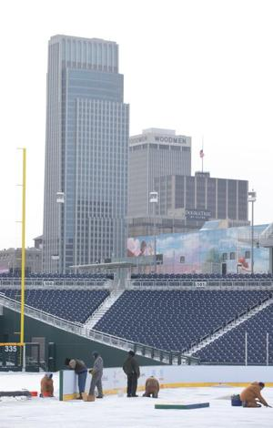 Practice rink being installed at TD Ameritrade Park for 2 big hockey match-ups