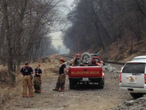Firefighters battle brush fire near Fontenelle Forest