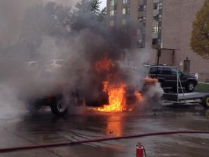 Video: Gas leak likely cause of truck fire outside Bluffs courthouse