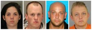 4 sought on warrants charging them with conspiracy to steal credit cards