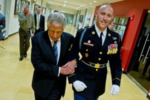 For starters, Chuck Hagel promises to look out for military families