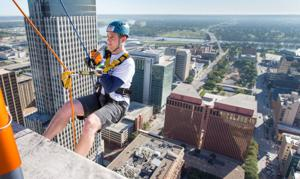 For Woodmen Tower rappelers, it's all downhill from here