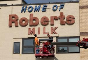Roberts Dairy sign comes down to make way for Hiland replacement