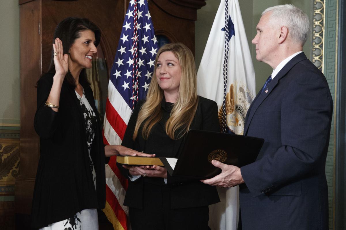 Nikki Haley sworn in as U.N. ambassador on same day Trump ...
