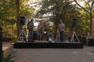 <p>The band Gypsy Revival performs in front of the Purdue Memorial Union in 2011 as part of PSUB's Summer Concert Series.</p>