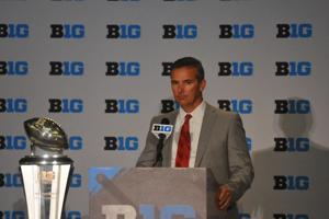 <p>Ohio State head coach Urban Meyer addressed the press during Big Ten Football Media Days, on July 30 in Chicago.</p>