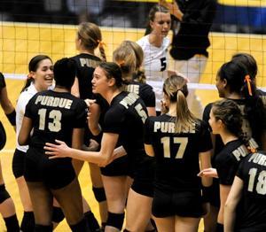 11/7/13 Missouri, Purdue Volleyball Team Celebrates