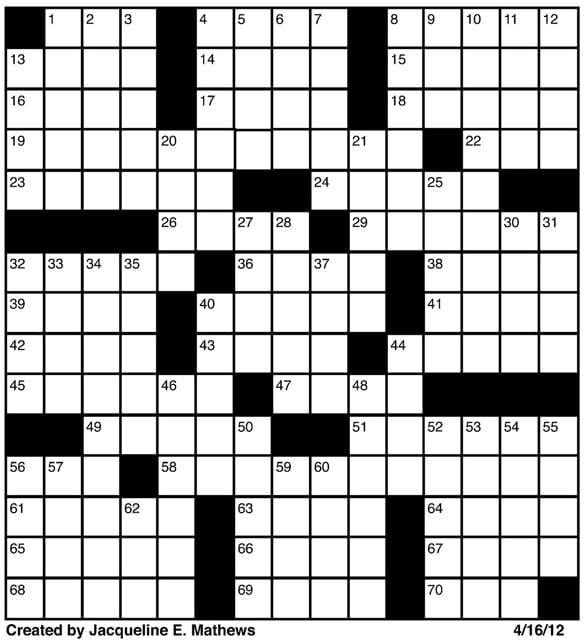 Crossword, April 16 | Puzzles | redandblack.com